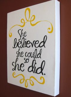 Handpainted Canvas She Believed She Could by aimeeweaver on Etsy, $35.00