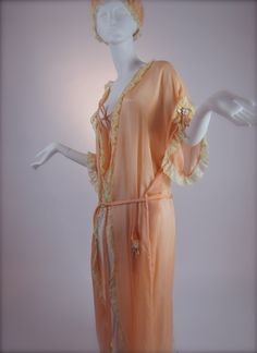 Early #1920's Peach Silk & #Valenciennes #Lace Trimmed #Peignoir with #Boudoir Cap  #vintage