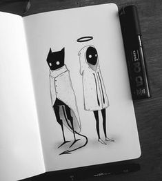 Page 15: Demon and Angel Doodle Drawings, Demon Drawings, Doodle Tattoo, Random Drawings, Sketchbook Drawings, Doodle Art, Drawing Sketches, Angel Illustration, Tattoo Illustration