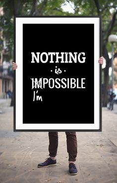 """Printable Art """"Nothing is Impossible"""" Typography Quote Poster Motivational Wall Art Black and White Inspirational Print Digital Download"""
