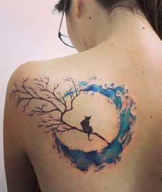 Beautiful Cat And Moon Watercolor Tattoo On Back.