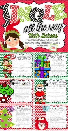 Six great math stations for the holidays including skill work for: Place Value, Estimation, Subtraction with Regrouping, Money, Multiplication, Arrays & Word Problems
