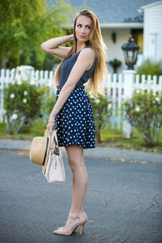 Loving this polka dot fit n' flare dress for spring and summer paired with nude and gold accessories! #HelloGorgeous