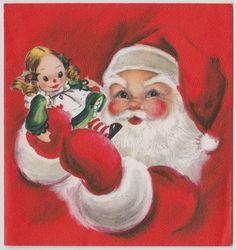 Vintage Greeting Card Christmas Santa Claus Baby Doll Toy Hallmark 1950s UNUSED