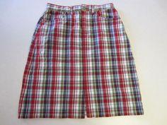Eddie Bauer Skirt 6 Red Plaid Denim #EddieBauer #StraightPencil