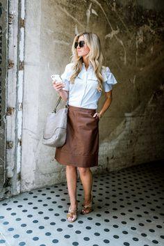 Elle Apparel | Light blue ruffle top + brown leather skirt Brown Leather Skirt, Pencil Skirt Outfits, Work Wardrobe, Mom Style, Spring Summer Fashion, Skirts, Ruffle Top, Clothes, Nursing
