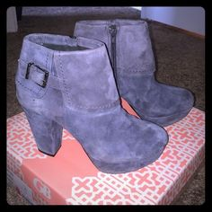 Suede Gray Ankle Boots. Cute! Worn twice, don't fit my feet well, but boy are they cute! Great with boyfriend jeans, leggings or skinny jeans. Very slight signs of wear in great condition. Only real sign of wear on right boot from driving. Toes rounded and perfect. Zippers inside, decorative buckles outside. Perfect for Spring, Fall and Winter! Giani Bernini Shoes Ankle Boots & Booties