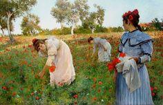 José Jiménez Aranda - In The Poppy Field, oil on canvas, 1895