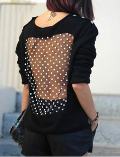 Stylish Back See-Through Spliced Long Sleeve Pullover Sweatshirt For Women