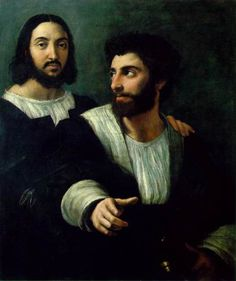 The artwork Self-portrait with a friend. Rafaello Santi) we deliver as art print on canvas, poster, plate or finest hand made paper. William Turner, Renaissance Kunst, High Renaissance, Renaissance Portraits, Raphael Paintings, Madona, La Madone, Art Antique, Renaissance