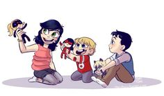 Marinette and Adrien's children - Emma, Hugo and...oh, I've forgotten his name. But they're all adorable!
