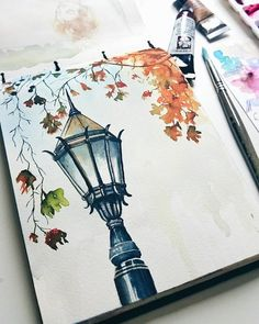 Image in illustration / inspiration collection by lovely gallery . - Image in illustration / inspiration collection by lovely gallery … – Image in the illustrat - Fall Drawings, Pencil Art Drawings, Art Drawings Sketches, Sketch Art, Cool Art Drawings, Watercolor Portraits, Watercolor Paintings, Easy Watercolor, Watercolour