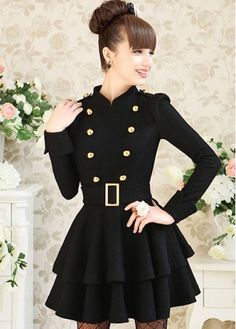 Lovely Stand Collar Layered Pattern Black Dress with Button on sale only US$33.29 now, buy cheap Lovely Stand Collar Layered Pattern Black Dress with Button at martofchina.com