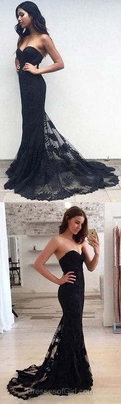 Latest Lace Black Prom Dresses,Trumpet/Mermaid Sweetheart Tulle Evening Party Dresses,Sweep Train Appliques Formal Gowns