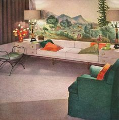 1954 Living Room: Furniture inspiration - Instead of tall lanky, N0-storage side tables, simply push low dressers or night-tables up against the couch!