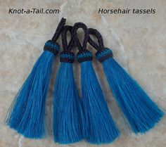 #Horsehair tassels Bold vivid  deep TEAL color 4 1/2 by Knotatail.com  http://knot-a-tail.com/catalog/16