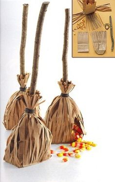 Witch Broom Party favors for a fun Halloween party with your kids! Click the pin for more fun ideas from our Just Kid-ding Around Tab! Fröhliches Halloween, Halloween Witch Decorations, Halloween Treat Bags, Halloween Party Favors, Holidays Halloween, Halloween Birthday, Halloween Clothes, Birthday Parties, Halloween Goodies