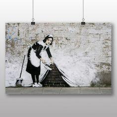 """Gefunden bei Wayfair.de - Poster """"Maid Sweeping Graffiti No.2"""" von Banksy, Kunstdruck"""