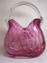 Vintage Murano Cranberry Swirl Glass Purse/Vase
