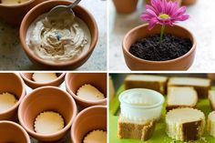 Springy flower pot desserts from the Pioneer Woman, 1 whole Pound Cake 1 gallon Ice Cream 1 package Oreo Cookies 1 package Gummy Worms Other Things You'll Need: Small Clay Flower Pots Straws Fresh Cut Flowers