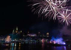 Fireworks over Wawel castle - Night view over Wawel castle with some fireworks cracking over