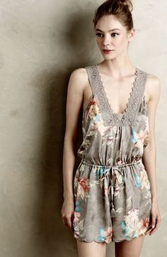 NEW Anthropologie Eloise gray Floral Silky Lace Trim Drawstring Lounge Romper M #Eloise #romper