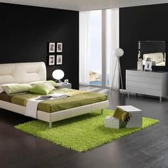 Wonderful Black and White Bedroom Design Inspiration with Eye-Catching Lime Green Synthetic Rug also Stylish White Dressing Table also White Three-Legs Stand Lamp #unique #interior #design // #interiordesign