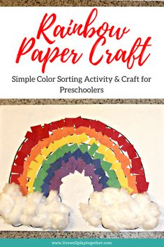 Rainbow Paper Craft for Kids - Live Well Play Together - Rainbow crafts for kids - St Patricks Day Crafts For Kids, St Patrick's Day Crafts, Rainy Day Crafts, Winter Crafts For Kids, Spring Crafts, Holiday Crafts, Diy Crafts, Weather Crafts, Blue Crafts