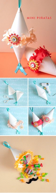 DIY :: Mini Piñata  ( http://onecharmingparty.com/2011/04/29/cinco-de-mayo-pinata/ )