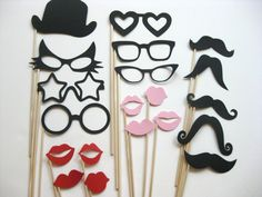 Photo Booth Party Props - The Wild Cat Collection - 20 piece set - Birthdays, Weddings, Parties - Photobooth Props