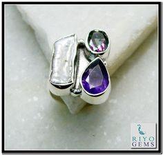 Mother of Pearl Silver Ring Riyo Gems www.riyogems.com