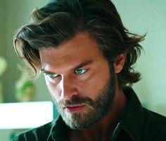 Kivanç Tatlituğ Gorgeous actor Hotter than Chris Hemsworth Like no one else Cesur ve Guzel Cesur Brave and Beautiful Beard King Long hair Blue eyes Blue shirt Sexy