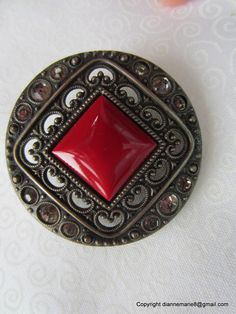 """""""Gay 90's"""" button from 1890's - Glass Set in Metal"""