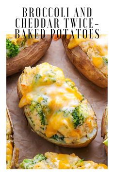 Broccoli and Cheddar Twice-Baked Potatoes are the epitome of comfort food! Add a salad to make them a full meal. # Food and Drink appetizers baked potatoes Broccoli and Cheddar Twice-Baked Potatoes Recipe Broccoli And Potatoes, Twice Baked Potatoes, Cheddar Potatoes, Stuffed Baked Potatoes, Queso Cheddar, Broccoli Cheddar, Cheddar Cheese, Healthy Cooking, Healthy Eating