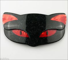 LEA-STEIN-LARGE-FIGURAL-BLACK-RED-ROMEO-CAT-FACE-BROOCH-PIN-FRENCH-PLASTIC-PARIS