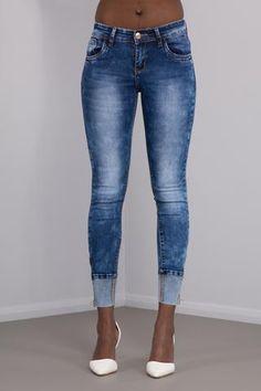 Fergie Faded Navy Blue Cuff Skinny Jeans