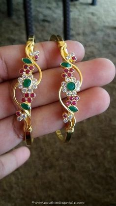 22k Gold Ruby Emerald Bangle Design