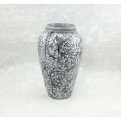 Decorative Vase in Gray with Silver Cherry Blossoms OOAK ($48) ❤ liked on Polyvore featuring home, home decor, vases, outside home decor, silver home accessories, gray vase, cherry blossom home decor and silver home decor