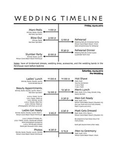 wedding timeline master schedule.  adjust accordingly for earlier ceremonies =)