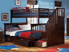 Perfect solution for Beach House. Queen size bed for mom and dad, plus easy access to twin or double on top, with ample built in storage. Small footprint maximizes the comfort in a modest 12x12 bedroom.