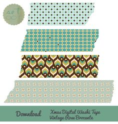 Christmas digital washi tape download. Set 001. Vintage Rose Brocante.