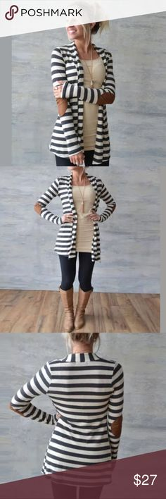 Elbow patch striped cardigan Great layering piece for those casual days.  Black and white striped cardigan with brown elbow patches.  This is a t shirt cardigan not a sweater cardigan.  Really soft you will wonder what you wore before you got this, its that comfy.   Sweaters Cardigans