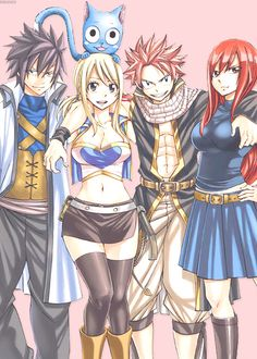 erza natsu gray happy and lucy