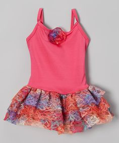 Love this Body Wrappers Bright Pink Rainbow Lace Skirted Leotard - Toddler & Girls by Body Wrappers on #zulily! #zulilyfinds