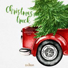 Watercolor Christmas Truck Vintage Red Pickup Pine Tree