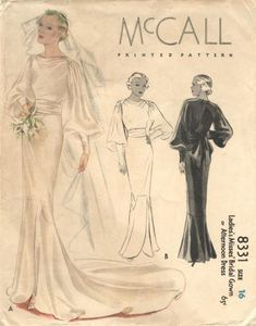 Новости Pattern Fashion, Vintage Bridal, Vintage Gowns, Vintage Outfits, Wedding Dress Sewing Patterns, Vintage Dress Patterns, Vintage Vogue, Halston Vintage, 1930s Wedding
