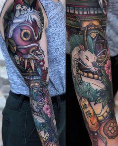 Studio Ghibli Sleeve by Corin Gilbert from Crooked Crows Tattoo in San Antonio, Tx : tattoos Tribal Sleeve Tattoos, Tattoos Skull, Tribal Tattoo Designs, Anime Tattoos, Body Art Tattoos, Ear Tattoos, Wing Tattoos, Tatuaje Studio Ghibli, Studio Ghibli Tattoo
