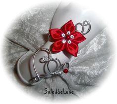 Bracelet mariage fleur rouge Coeur Perles nacrées Strass cristal ♥ Bracelet fleur satin mariage fête soirée : Bracelet par soleildelune-bijoux-mariage