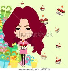 Cute cartoon girl in Christmas or birthday party celebration with many cakes and presents background, create by vector