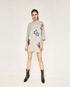 PLUSH DRESS WITH EMBROIDERED PATCHES-NEW IN-WOMAN | ZARA United States